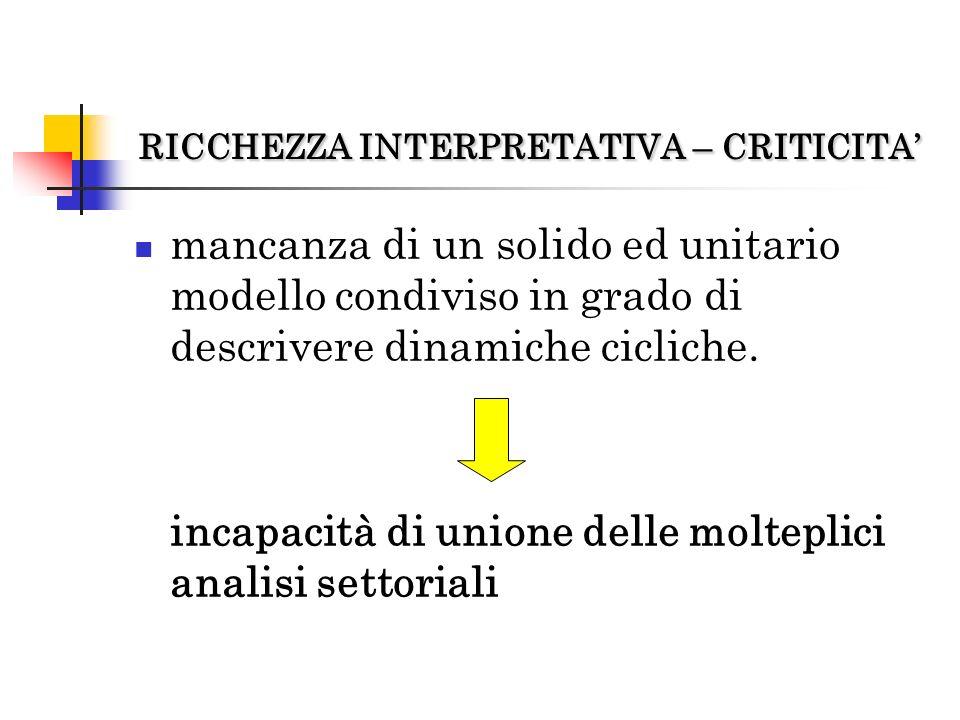 RICCHEZZA INTERPRETATIVA – CRITICITA'