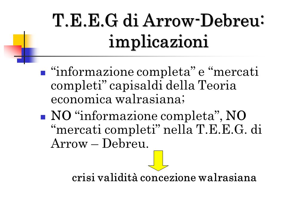 T.E.E.G di Arrow-Debreu: implicazioni