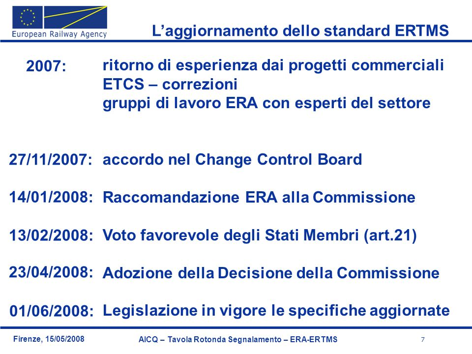 L'aggiornamento dello standard ERTMS