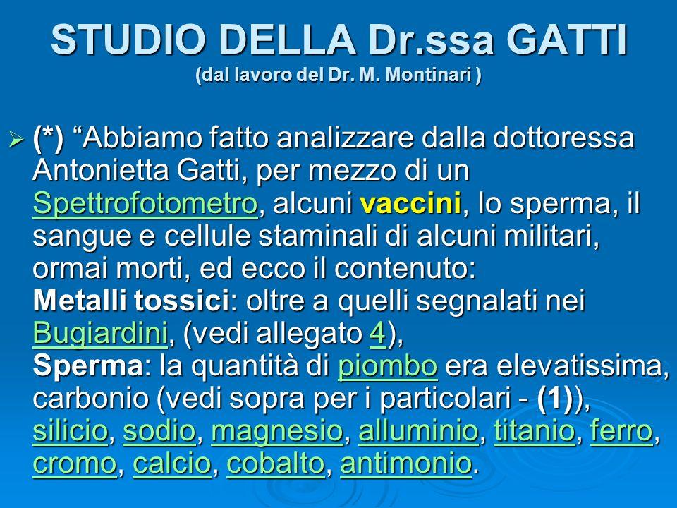 STUDIO DELLA Dr.ssa GATTI (dal lavoro del Dr. M. Montinari )