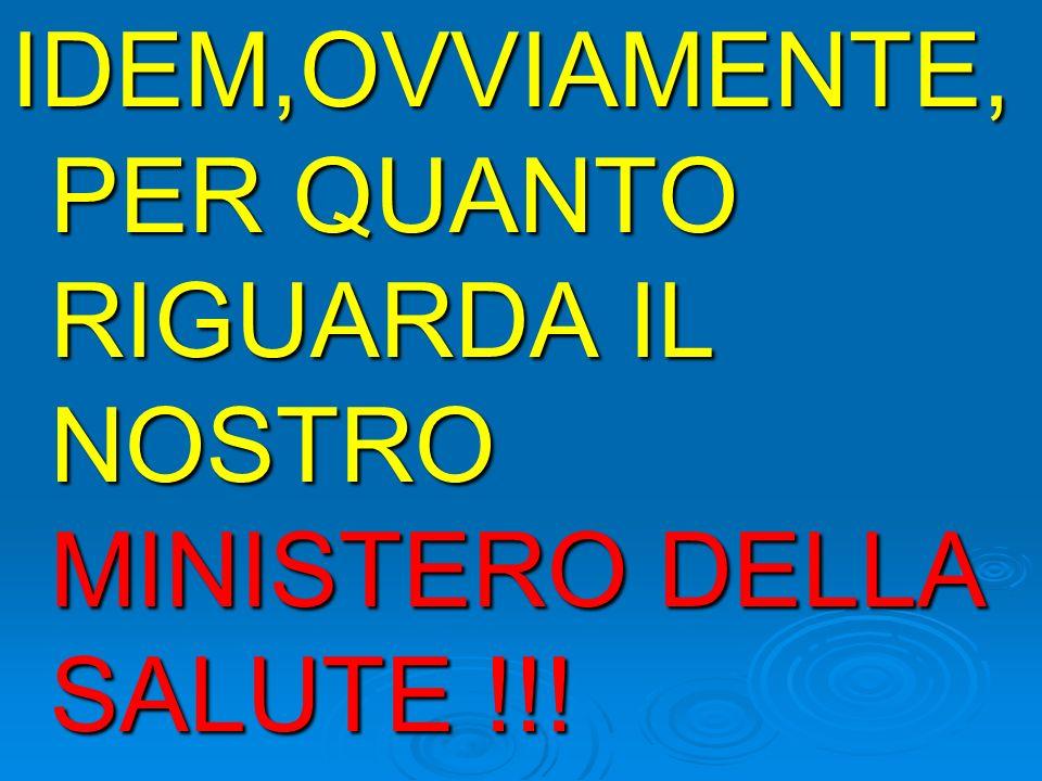 IDEM,OVVIAMENTE, PER QUANTO RIGUARDA IL NOSTRO MINISTERO DELLA SALUTE !!!