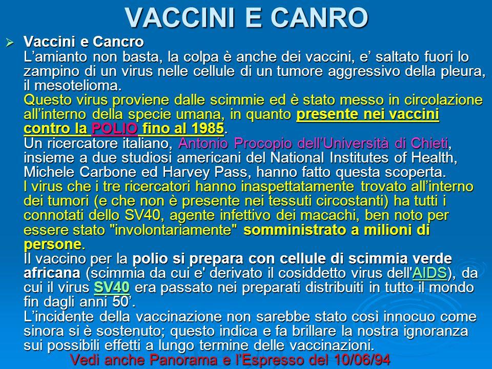 VACCINI E CANRO