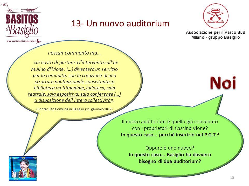 Noi 13- Un nuovo auditorium nessun commento ma…