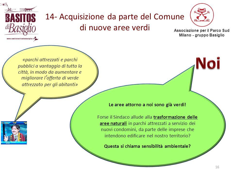14- Acquisizione da parte del Comune di nuove aree verdi