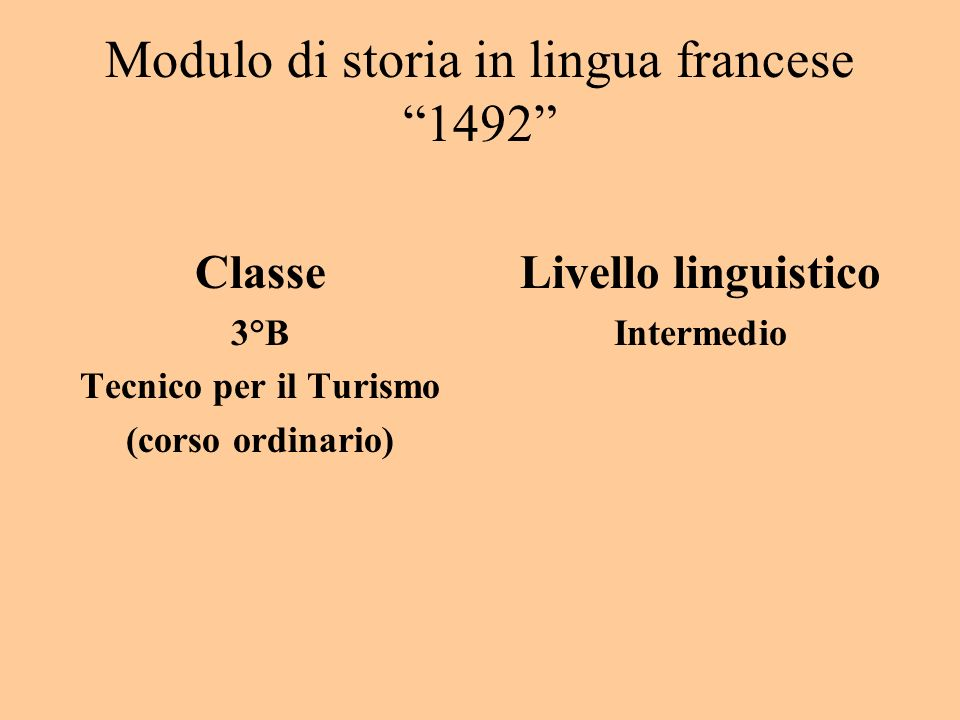 Modulo di storia in lingua francese 1492