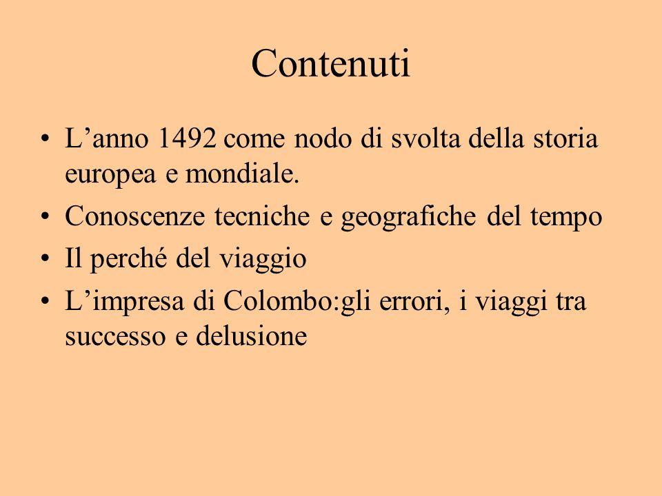 Contenuti L'anno 1492 come nodo di svolta della storia europea e mondiale. Conoscenze tecniche e geografiche del tempo.