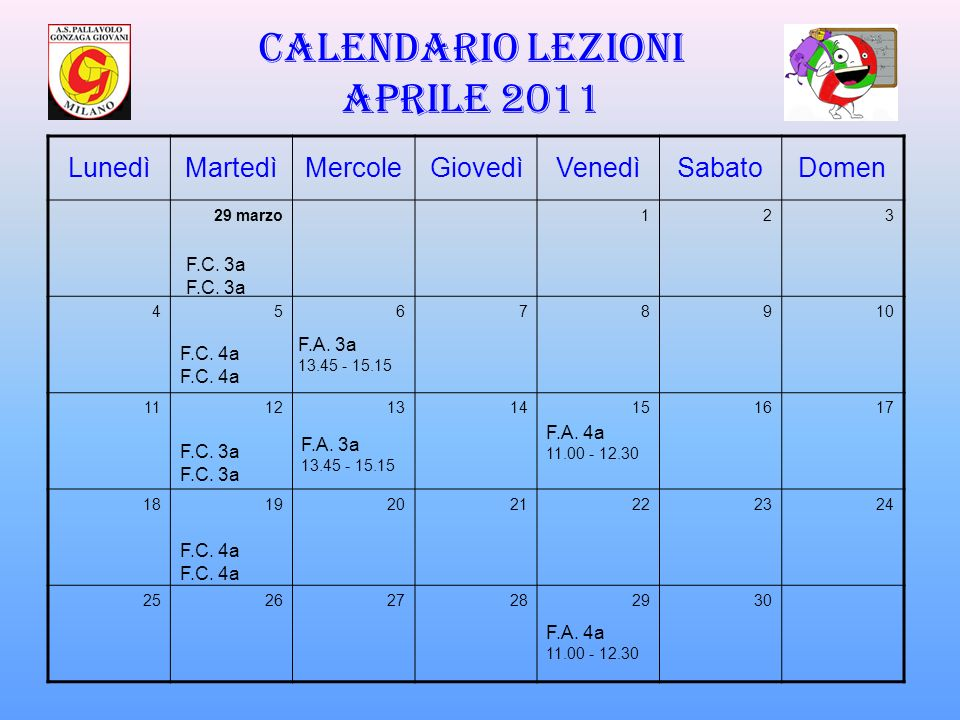 Calendario lezioni APRILE 2011
