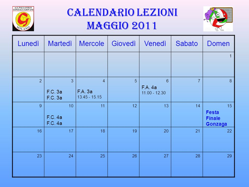 Calendario lezioni maggio 2011