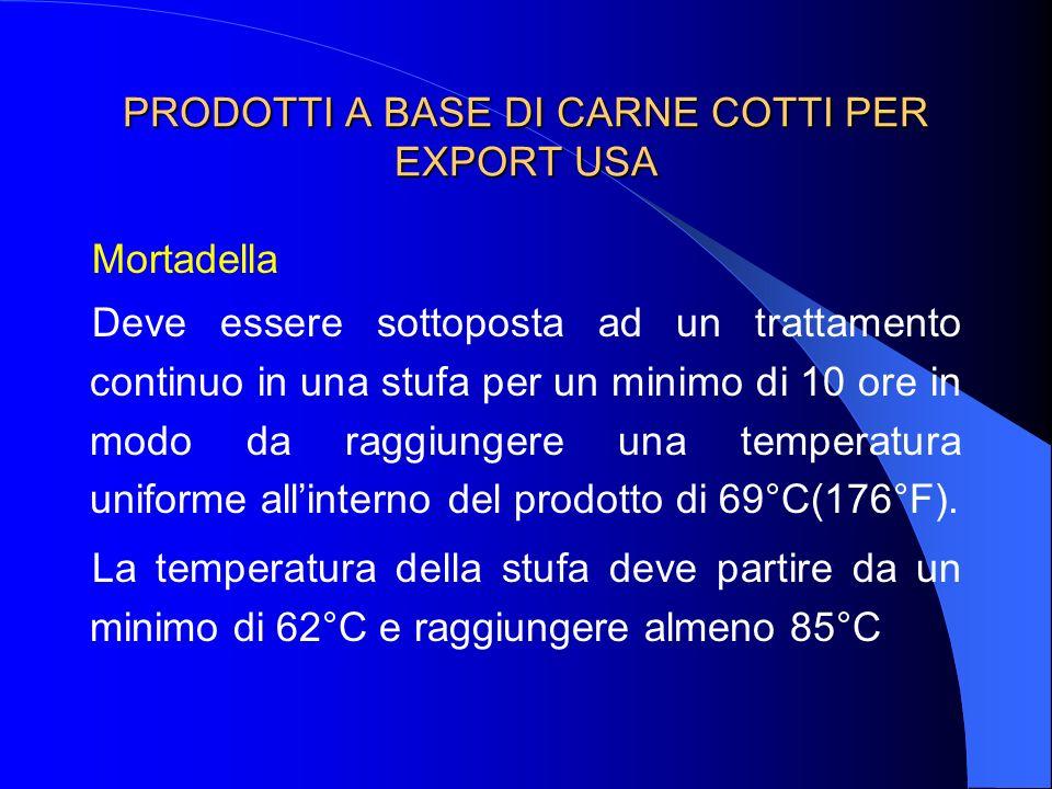 PRODOTTI A BASE DI CARNE COTTI PER EXPORT USA