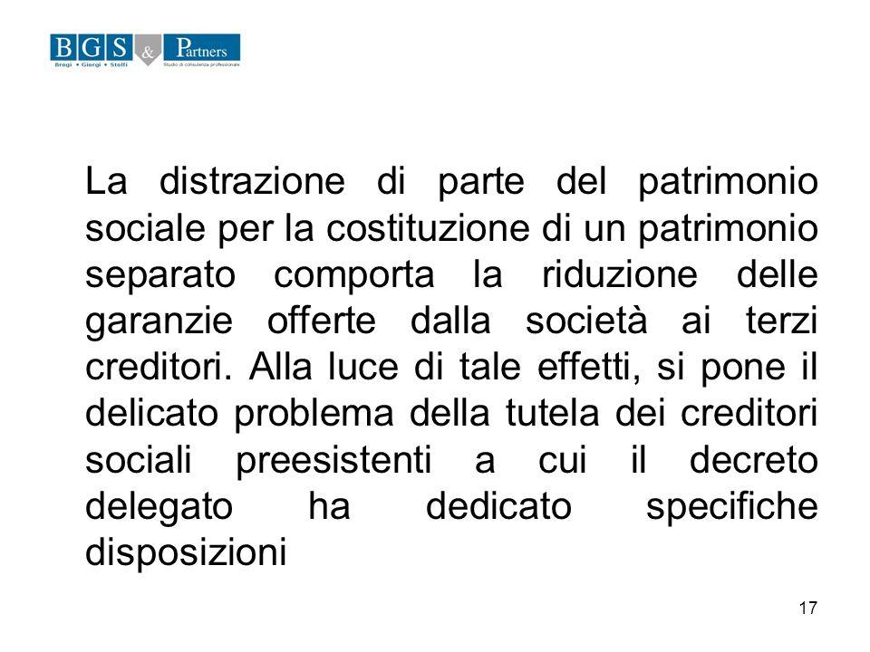 La distrazione di parte del patrimonio sociale per la costituzione di un patrimonio separato comporta la riduzione delle garanzie offerte dalla società ai terzi creditori.