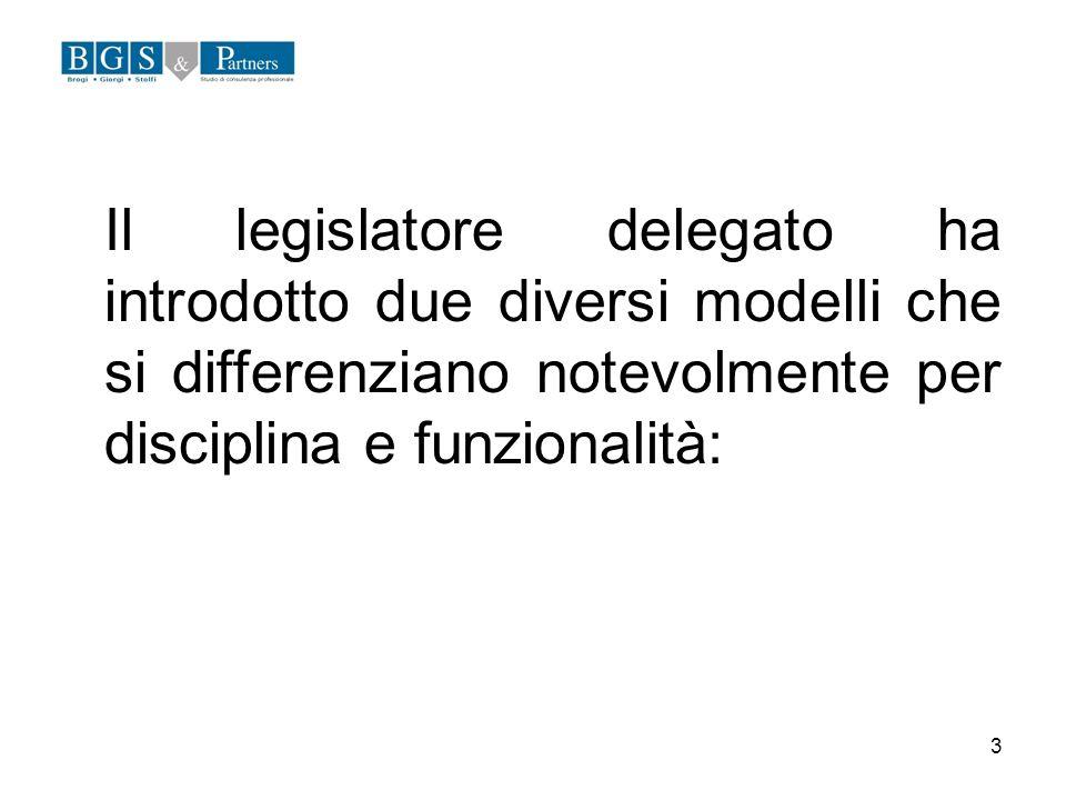 Il legislatore delegato ha introdotto due diversi modelli che si differenziano notevolmente per disciplina e funzionalità: