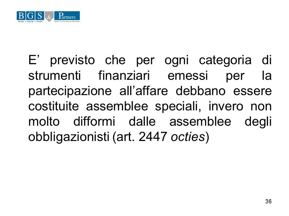 E' previsto che per ogni categoria di strumenti finanziari emessi per la partecipazione all'affare debbano essere costituite assemblee speciali, invero non molto difformi dalle assemblee degli obbligazionisti (art.