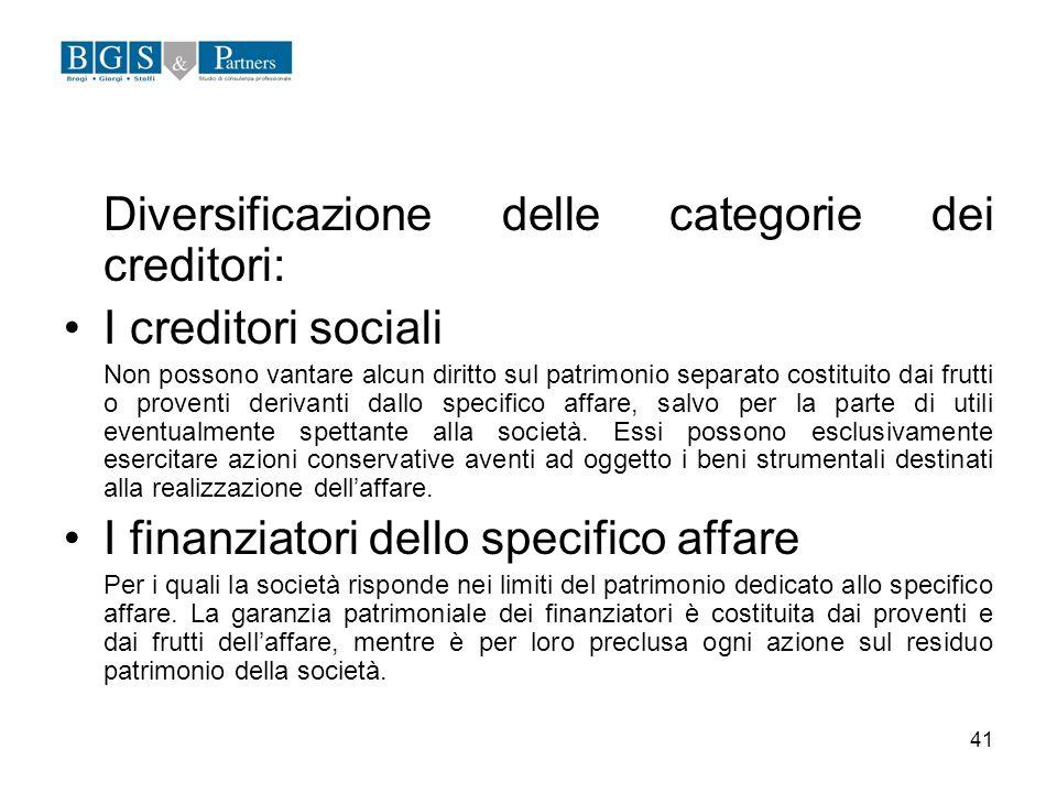 Diversificazione delle categorie dei creditori: I creditori sociali
