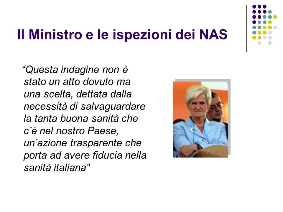 Il Ministro e le ispezioni dei NAS