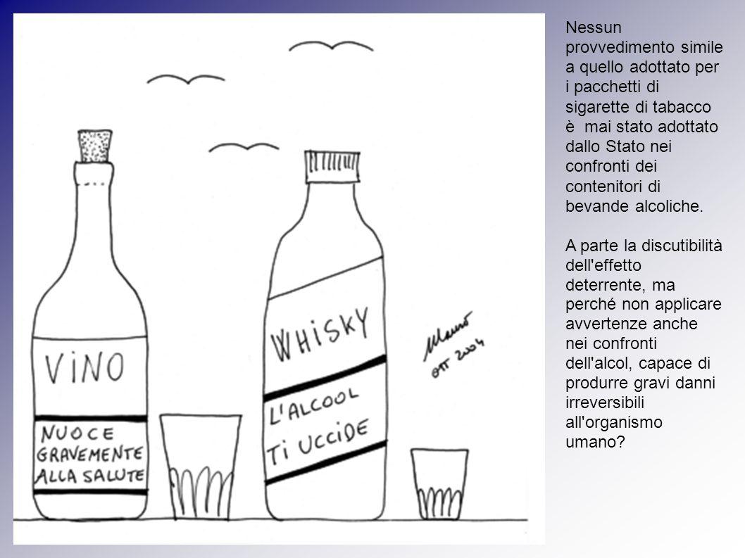 Nessun provvedimento simile a quello adottato per i pacchetti di sigarette di tabacco è mai stato adottato dallo Stato nei confronti dei contenitori di bevande alcoliche.