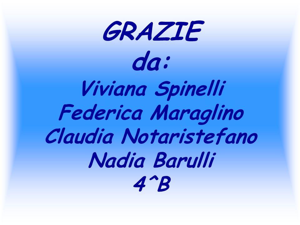 GRAZIE da: Viviana Spinelli Federica Maraglino Claudia Notaristefano Nadia Barulli 4^B