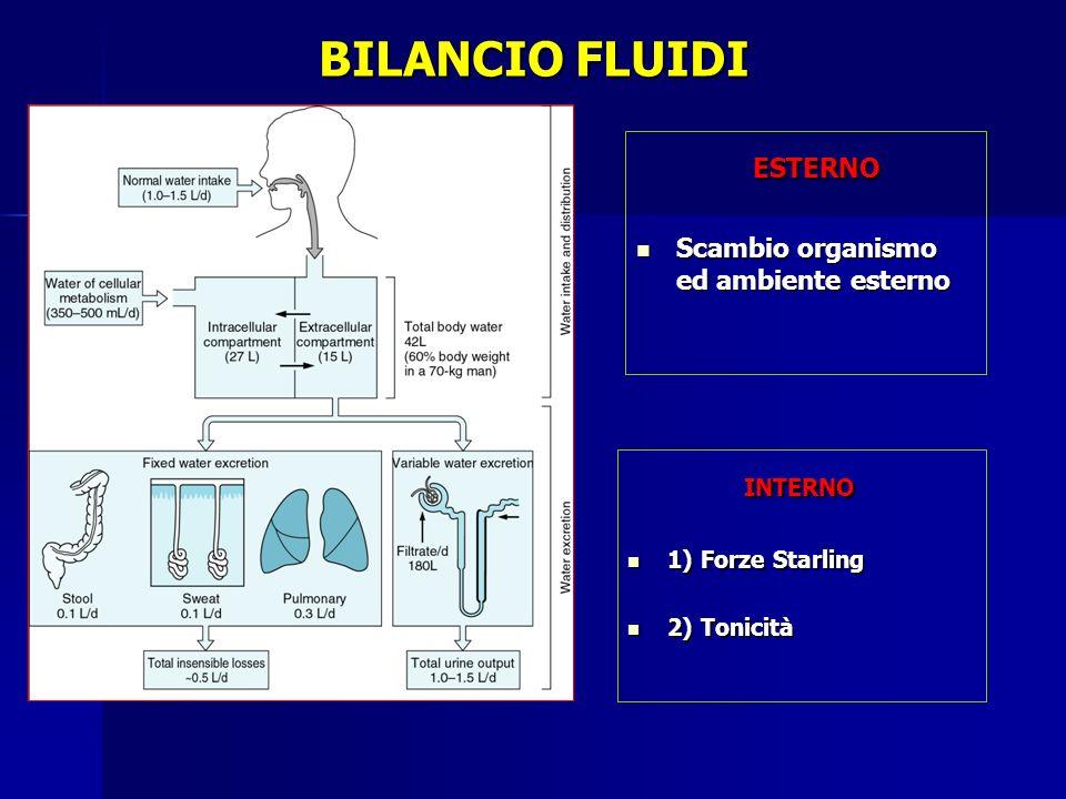 BILANCIO FLUIDI ESTERNO INTERNO Scambio organismo ed ambiente esterno