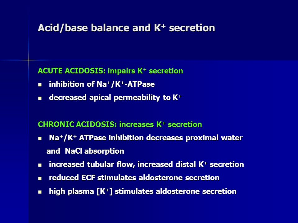 Acid/base balance and K+ secretion