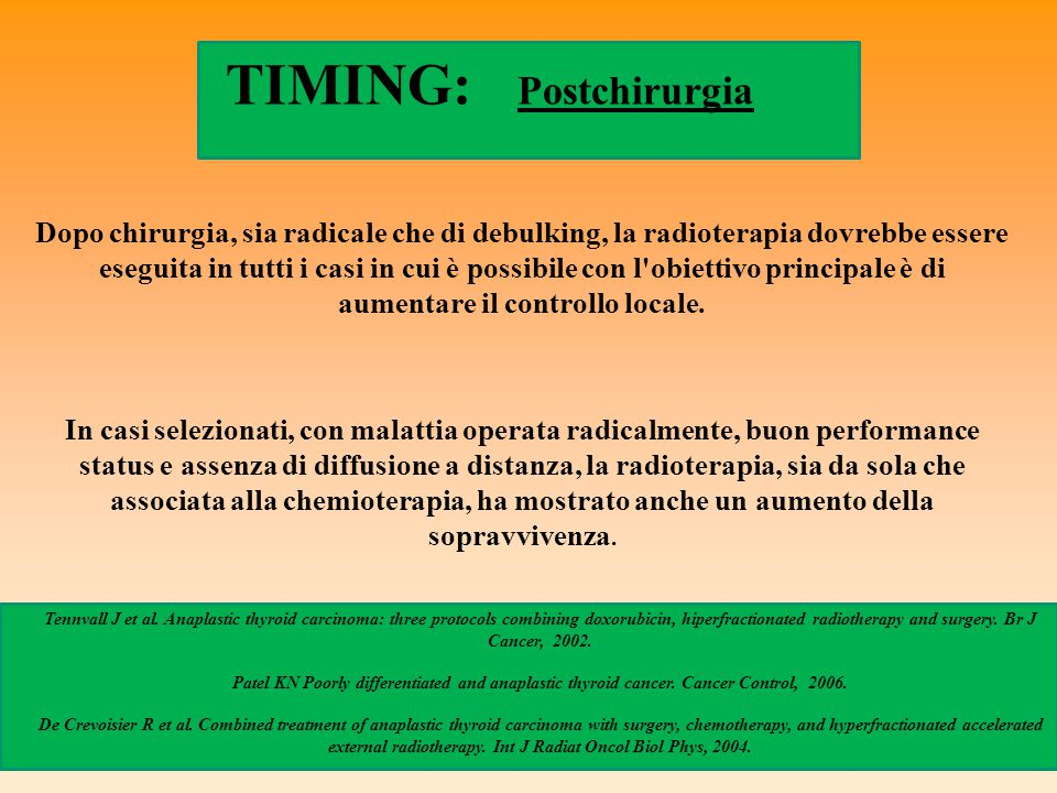 TIMING: Postchirurgia