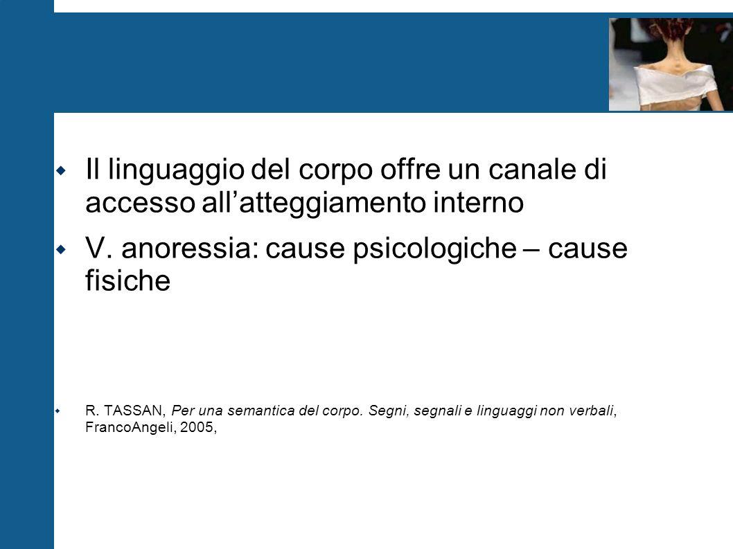 V. anoressia: cause psicologiche – cause fisiche