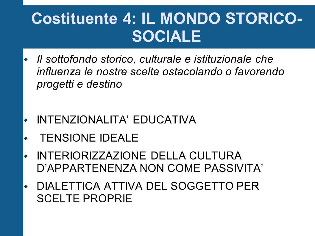 Costituente 4: IL MONDO STORICO-SOCIALE