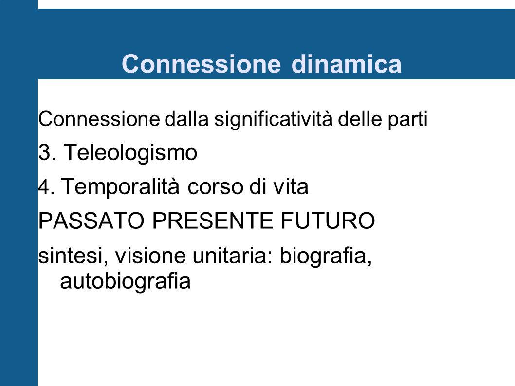 Connessione dinamica 3. Teleologismo PASSATO PRESENTE FUTURO