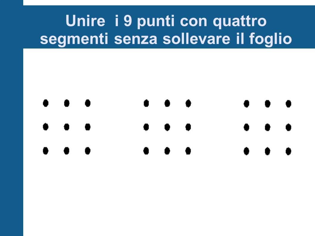 Unire i 9 punti con quattro segmenti senza sollevare il foglio
