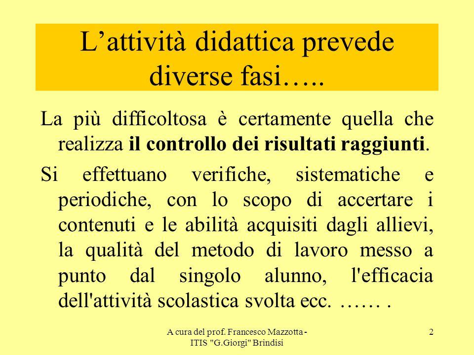 L'attività didattica prevede diverse fasi…..