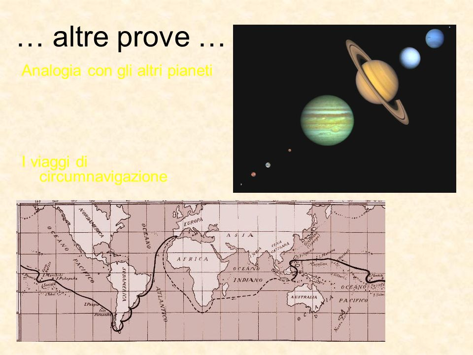 … altre prove … Analogia con gli altri pianeti I viaggi di