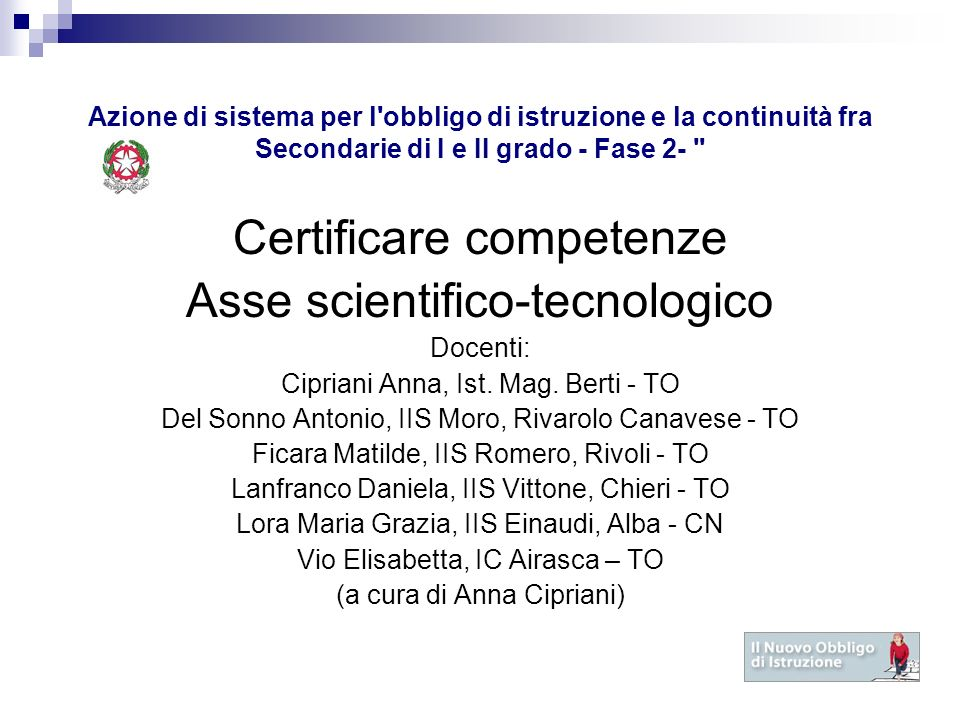 Certificare competenze Asse scientifico-tecnologico