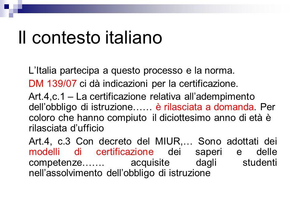 Il contesto italiano L'Italia partecipa a questo processo e la norma.
