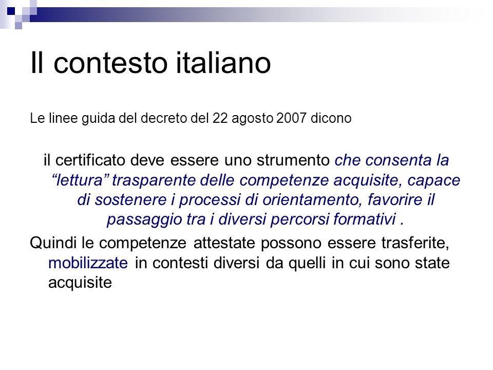 Il contesto italiano Le linee guida del decreto del 22 agosto 2007 dicono.