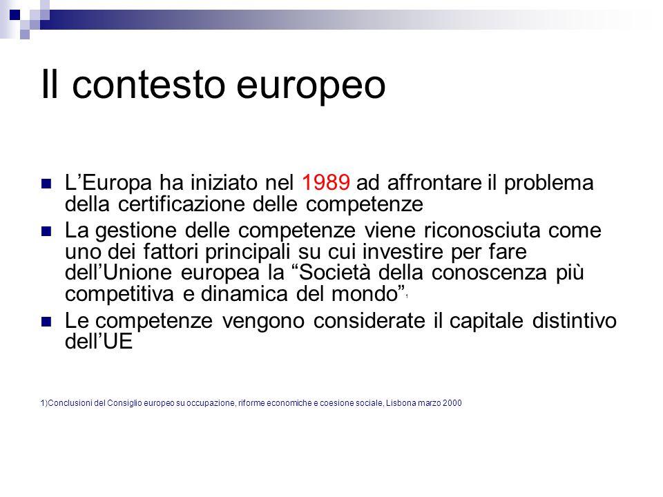 Il contesto europeo L'Europa ha iniziato nel 1989 ad affrontare il problema della certificazione delle competenze.