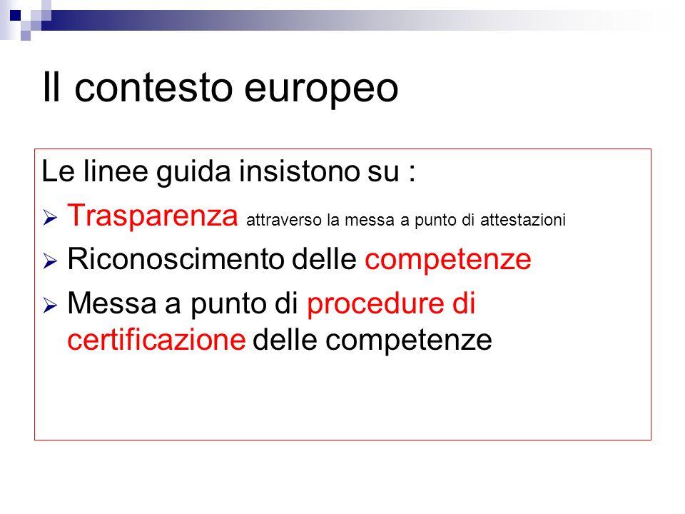 Il contesto europeo Le linee guida insistono su :