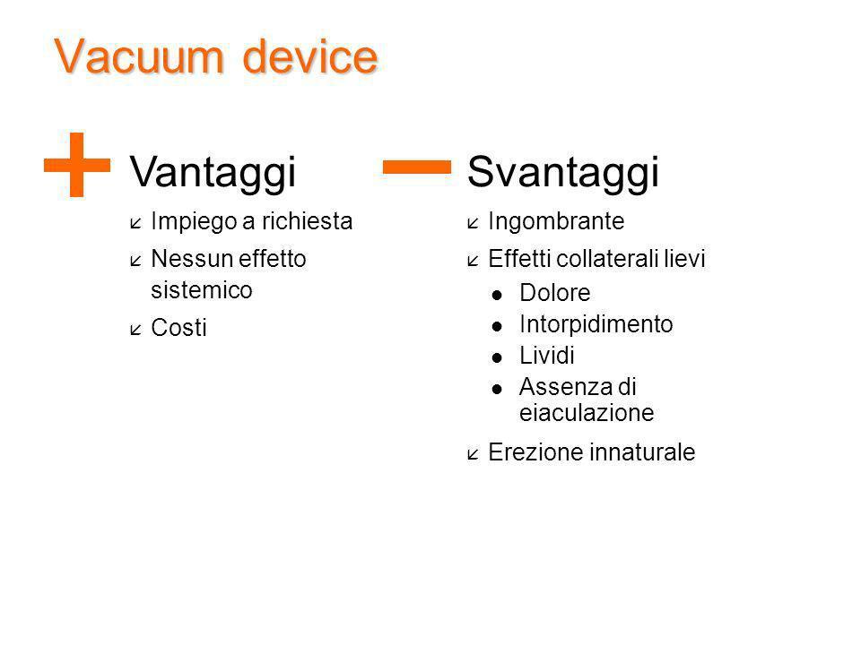 Vacuum device Vantaggi Svantaggi Impiego a richiesta