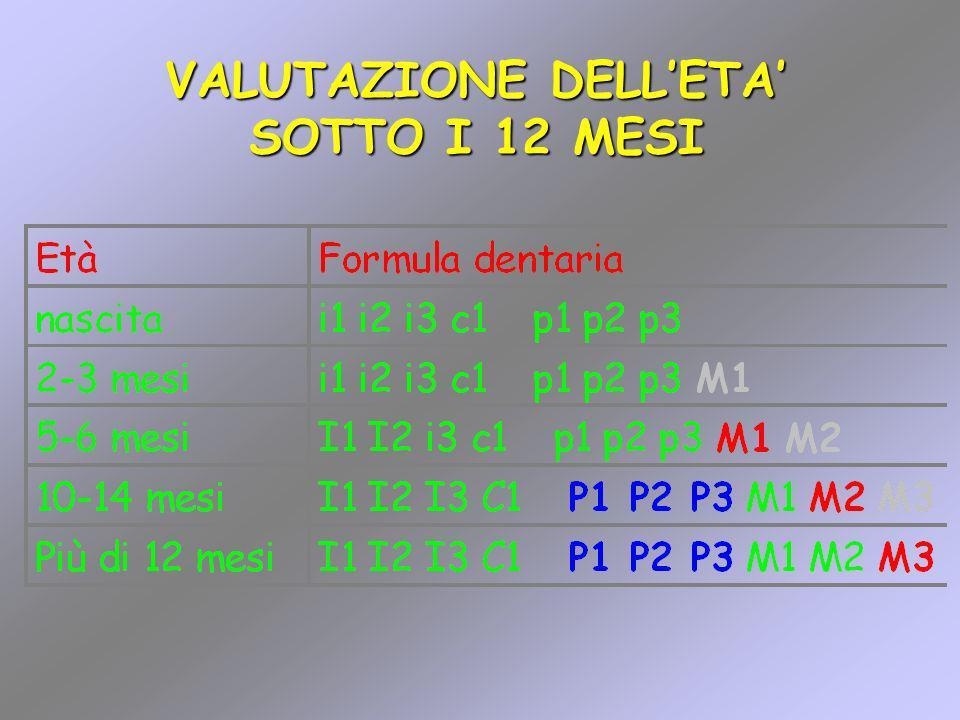 VALUTAZIONE DELL'ETA' SOTTO I 12 MESI