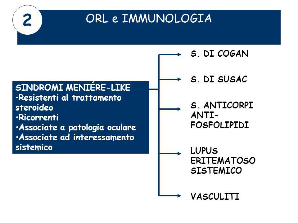 2 ORL e IMMUNOLOGIA S. DI COGAN S. DI SUSAC SINDROMI MENIÉRE-LIKE
