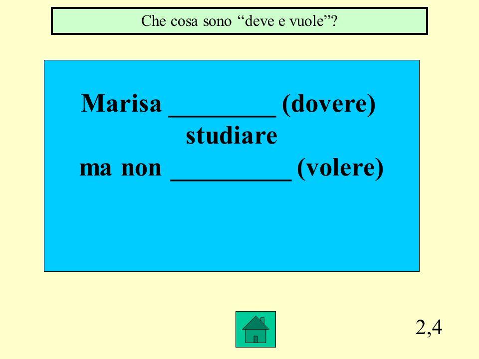Marisa ________ (dovere) ma non _________ (volere)