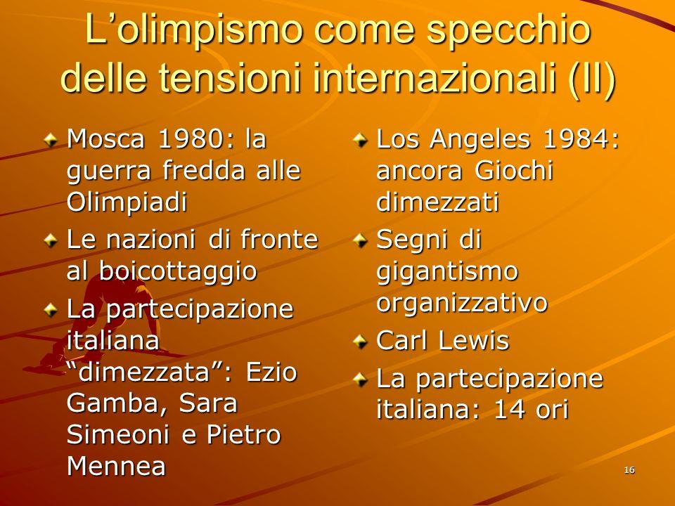 L'olimpismo come specchio delle tensioni internazionali (II)