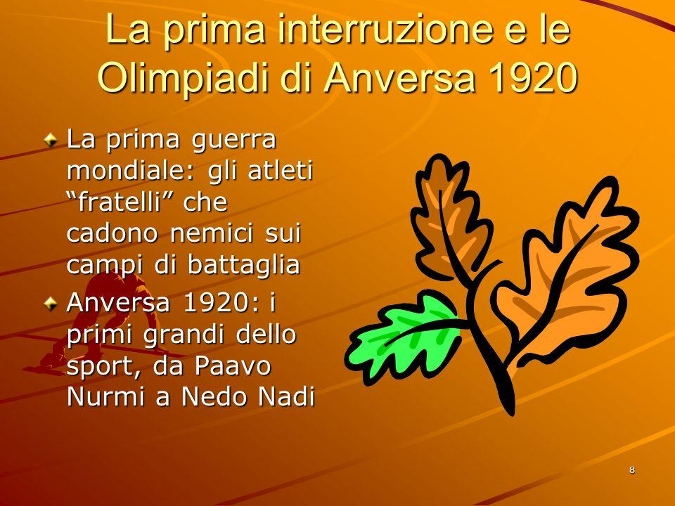 La prima interruzione e le Olimpiadi di Anversa 1920