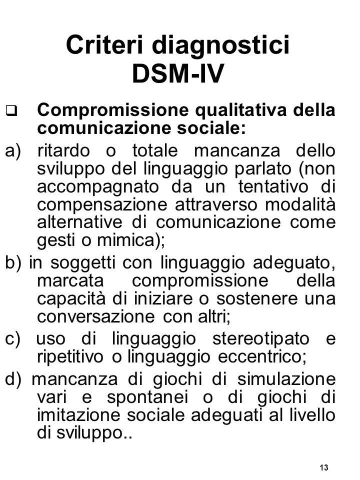 Criteri diagnostici DSM-IV