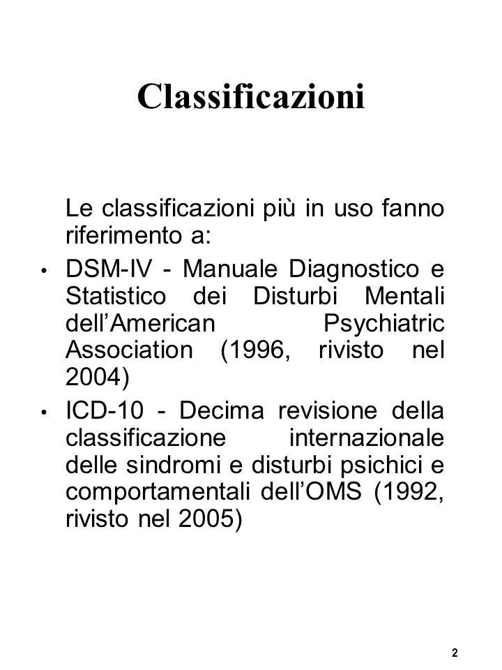 Classificazioni Le classificazioni più in uso fanno riferimento a: