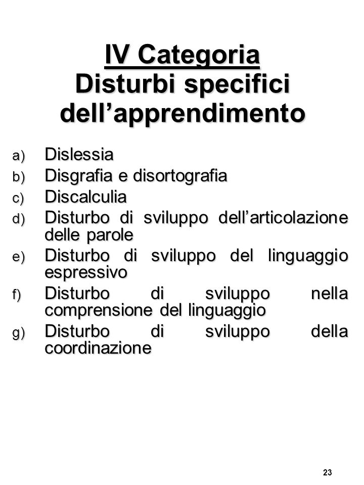 IV Categoria Disturbi specifici dell'apprendimento