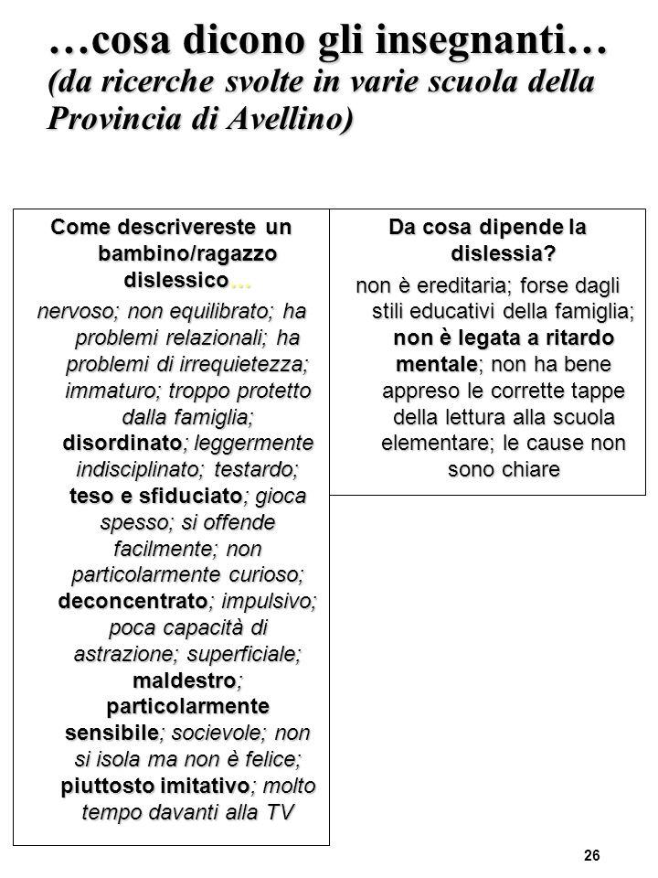 …cosa dicono gli insegnanti… (da ricerche svolte in varie scuola della Provincia di Avellino)