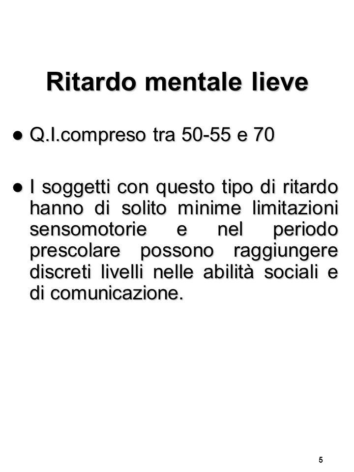 Ritardo mentale lieve Q.I.compreso tra 50-55 e 70