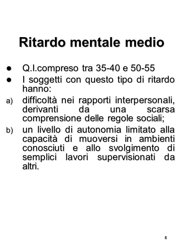 Ritardo mentale medio Q.I.compreso tra 35-40 e 50-55