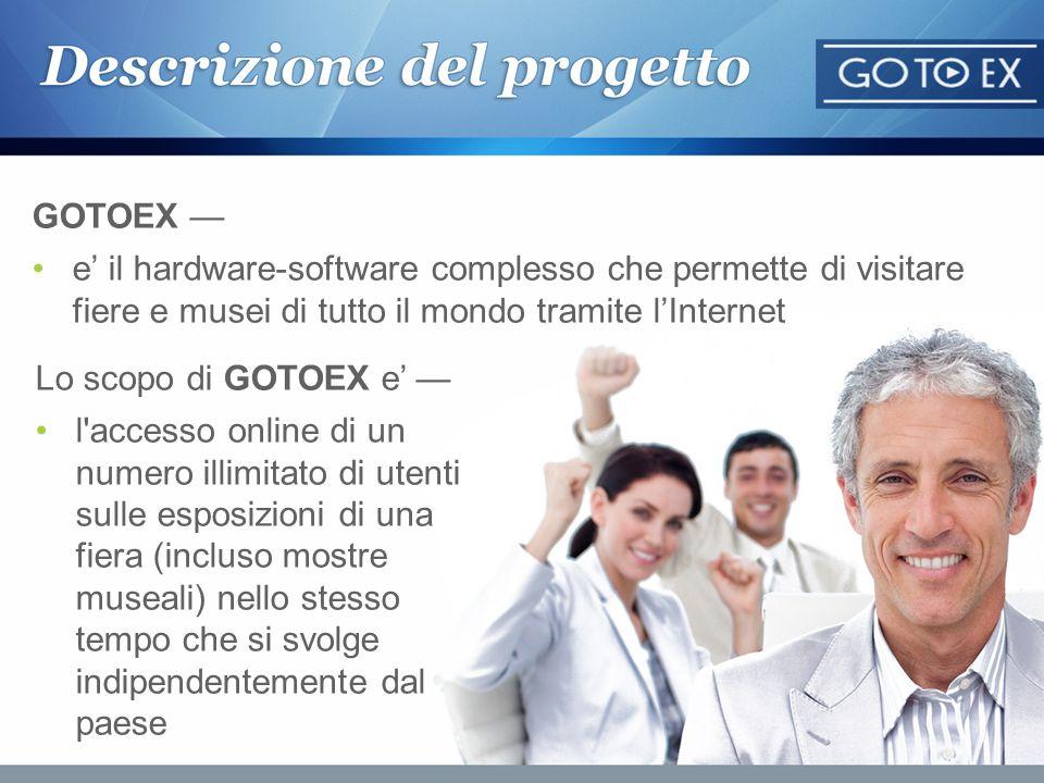 GOTOEX —e' il hardware-software complesso che permette di visitare fiere e musei di tutto il mondo tramite l'Internet.