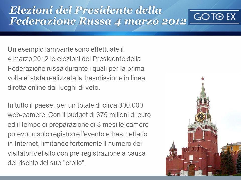 Un esempio lampante sono effettuate il 4 marzo 2012 le elezioni del Presidente della Federazione russa durante i quali per la prima volta e' stata realizzata la trasmissione in linea diretta online dai luoghi di voto.
