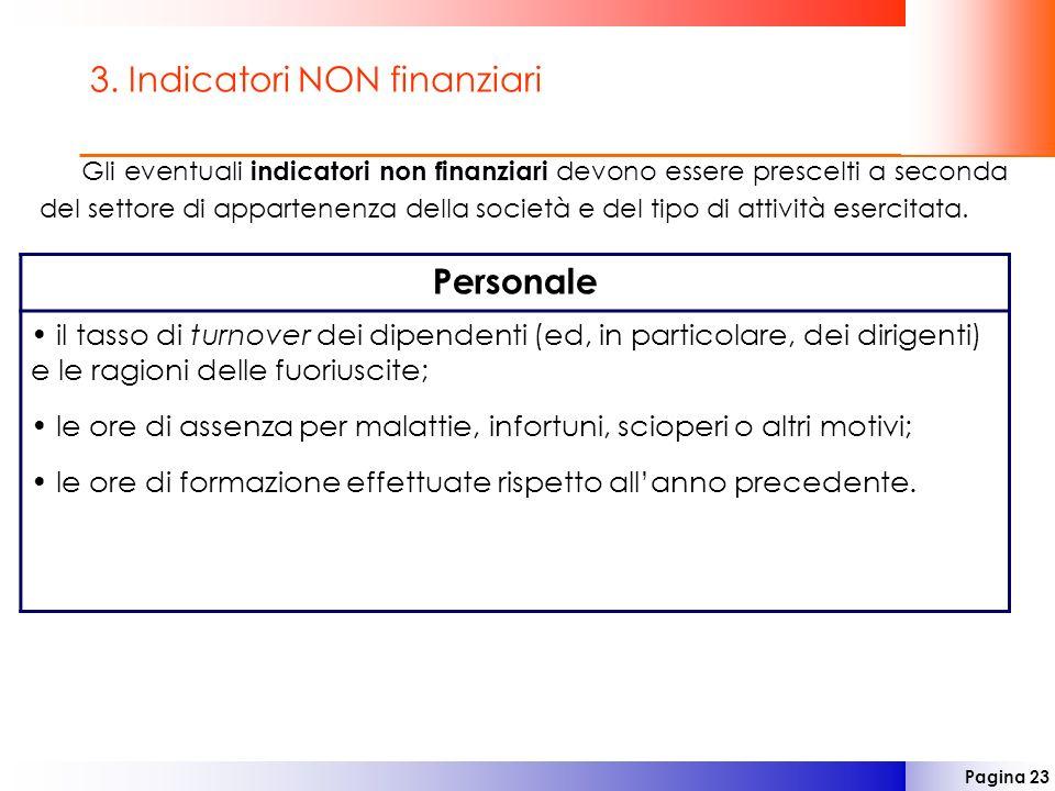 3. Indicatori NON finanziari