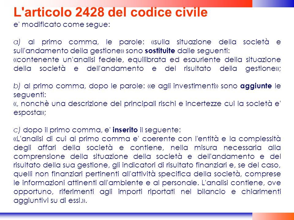 L articolo 2428 del codice civile
